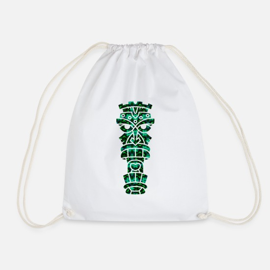 Tiki Bags & Backpacks - Psychedelic tiki - Drawstring Bag white