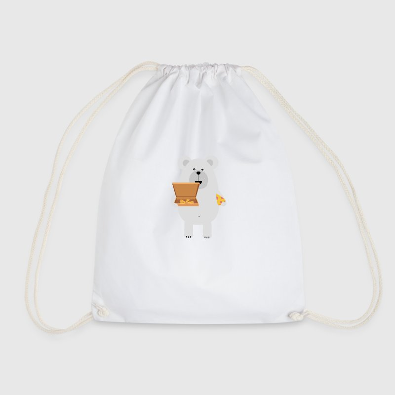 Eat polar bear, pizza - Drawstring Bag