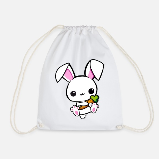 Master Lamp Bags & Backpacks - small hare with carrot - Drawstring Bag white