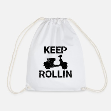 Scooters Meet Keep Rollin scooter PX retro scooter gift - Drawstring Bag