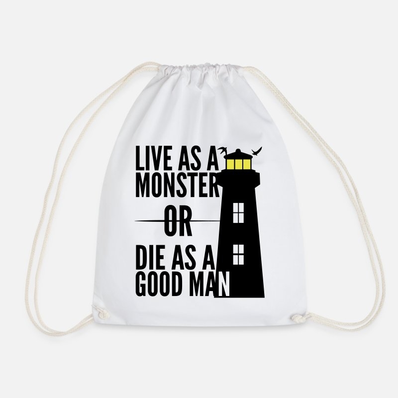 Bestsellers Q4 2018 Bags & Backpacks - Monster or good man! Shutter Island movie quote - Drawstring Bag white