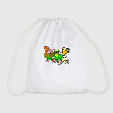 For children: farm animals with tractor - Drawstring Bag