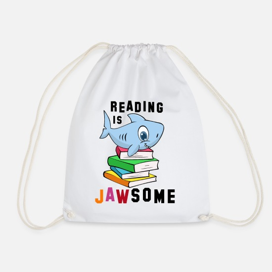 Bookworm Bags & Backpacks - book - Drawstring Bag white