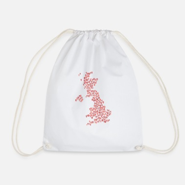 Null Binary word cloud in null map form (red) - Drawstring Bag