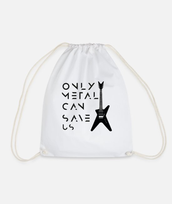 Metal Bags & Backpacks - ONLY METAL CAN SAVE US - Drawstring Bag white