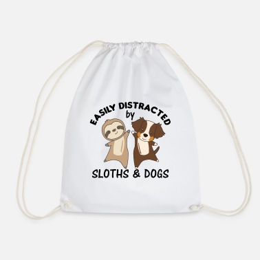 Aussie Easily distracted by sloths and Dogs Sloth Dog - Drawstring Bag