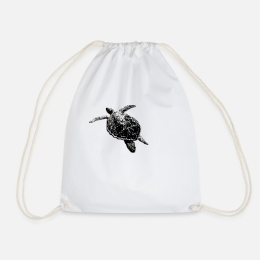 Stencil Turtle Stencil - Drawstring Bag