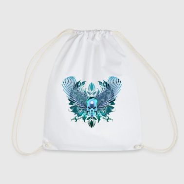 cyan Skull with wings - Drawstring Bag