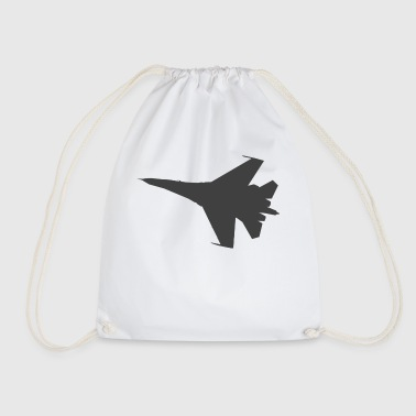 Military fighter jet plane jet silhouette - Drawstring Bag