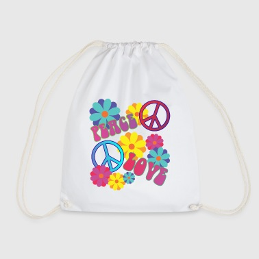 058 - love peace hippie flower power - Turnbeutel