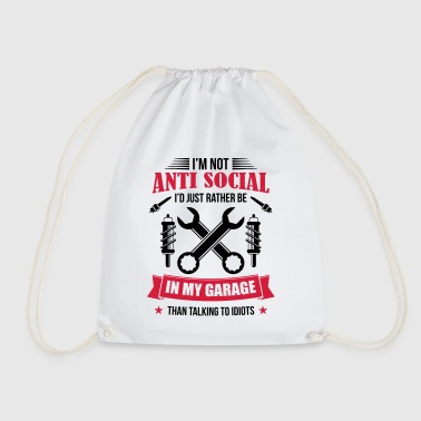 Mechanic in garage antisocial mechanic - Drawstring Bag