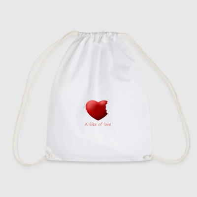 Heart bite of love. Nice and cute design - Drawstring Bag