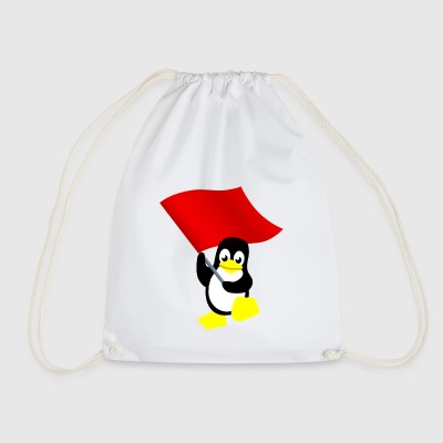 Tux with red flag - Drawstring Bag