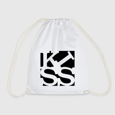 kiss homage to Robert Indiana black outside - Drawstring Bag