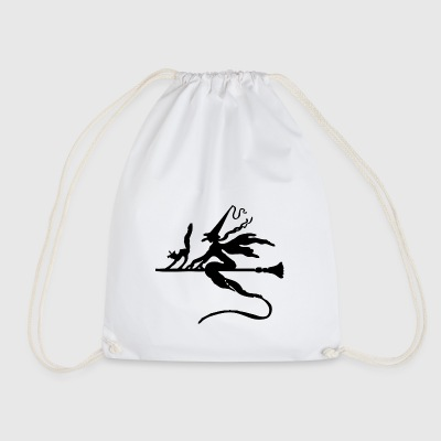 Witch with cat on broom - Drawstring Bag