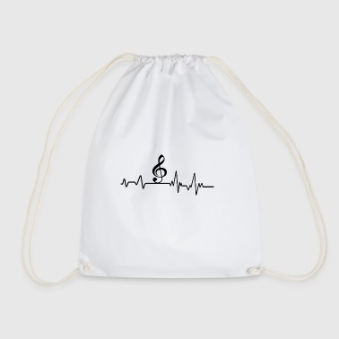 Heartbeat Music T-Shirt Gift Musical Instrument - Drawstring Bag