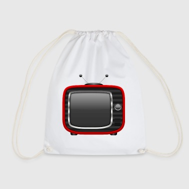Retro Tv Red 001 AllroundDesigns - Drawstring Bag