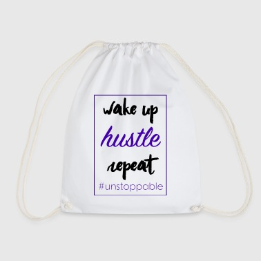 wake up, hustle, repeat - Drawstring Bag