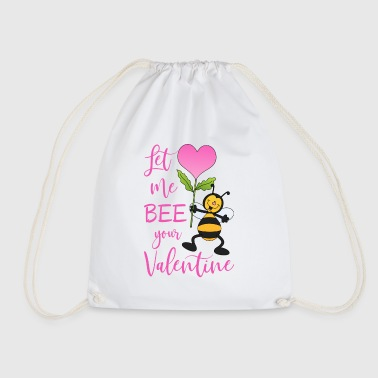 Let Me Bee Your Valentine Biene mit Herz Blume - Turnbeutel