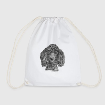poodle-black-P - Drawstring Bag