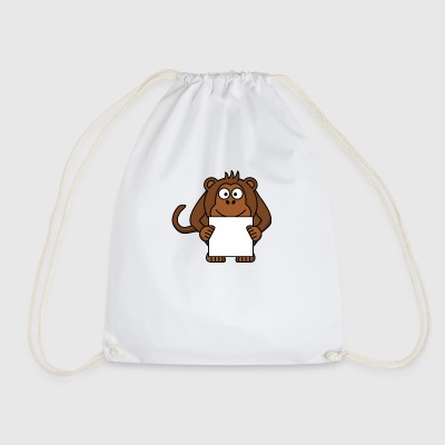 Monkey with leaf - Drawstring Bag