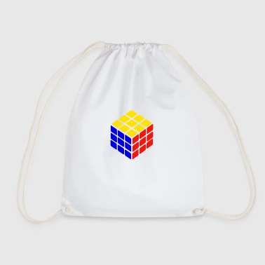 blue yellow red rubik's cube print - Drawstring Bag