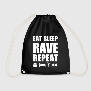 eat sleep rave repeat Icons Techno Festival Spruch - Turnbeutel