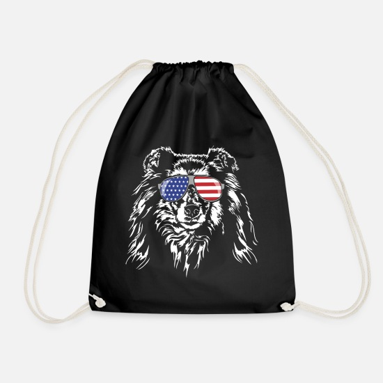 Dog Owner Bags & Backpacks - ROUGH COLLIE America flag - Drawstring Bag black