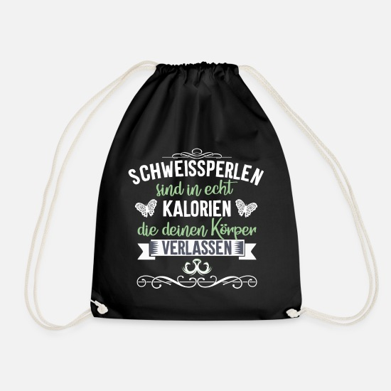 Gift Idea Bags & Backpacks - Sweat beads are calorie fitness shirt motif - Drawstring Bag black