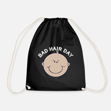 Bald Head Bad Hair Day bald hair bald head hairstyle baby - Drawstring Bag