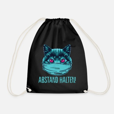 Cat Keep Your Distance Keep your distance - cat with face mask T-shirt - Drawstring Bag