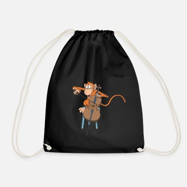 Monkey plays the cello - Drawstring Bag