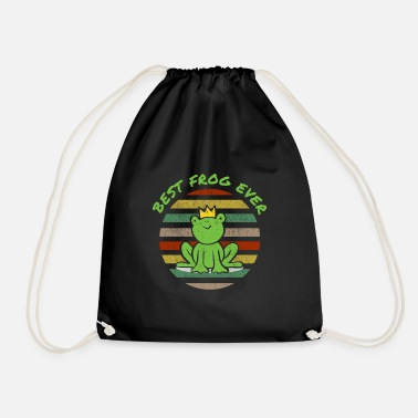 Fairy Tales Comic frog funny funny joke green crown king - Drawstring Bag