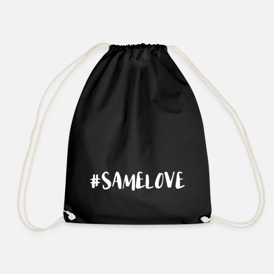 Gay Pride Bags & Backpacks - Same Love Hashtag - Drawstring Bag black