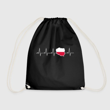 I love Poland - heartbeat - Drawstring Bag