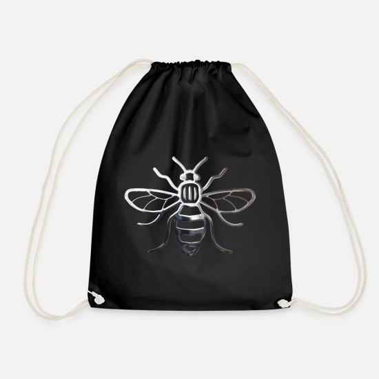Bee Bags & Backpacks - Manchester Bee - Chrome Effect - Drawstring Bag black