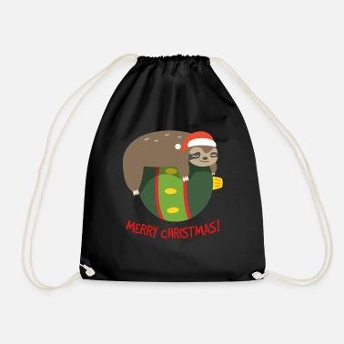 d66b4d6cd19 Sleeping Sloth On A Chrismtas Ball Santa Hat Snow Snapback Cap ...