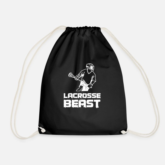 Gift Idea Bags & Backpacks - Lacrosse Beast ball sport team bat helmet - Drawstring Bag black