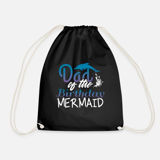 Gift Idea Bags & Backpacks - Dad of the Birthday Mermaid Father Gift - Drawstring Bag black