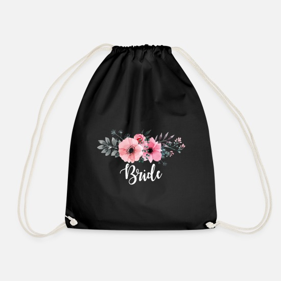 Bride Bags & Backpacks - Bride. Brides Gifts. Hen Party. Bachelorette Party - Drawstring Bag black