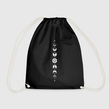 Totem with moon phases and stars. White. - Drawstring Bag