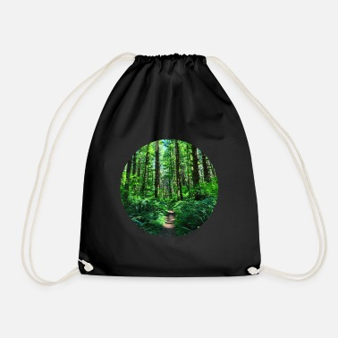 Forest Forest forests trees nature green forest road forest ground - Drawstring Bag