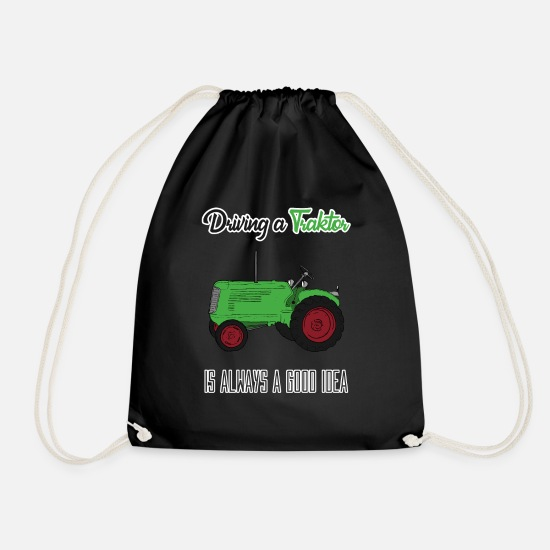 Gift Idea Bags & Backpacks - Tractor Farm Farmer Farmer Bulldog Gift - Drawstring Bag black