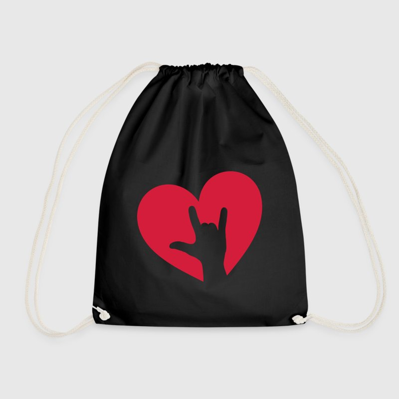 Rock music hand heart, party, festival, i love you - Drawstring Bag