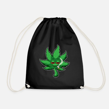 Marie Cannabis Leaf With Red Eyes Smokes Weed - THC CBD - Drawstring Bag