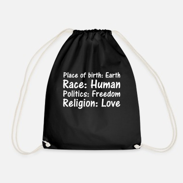 Place Of Birth Place of birth Race Politics Religion - Drawstring Bag