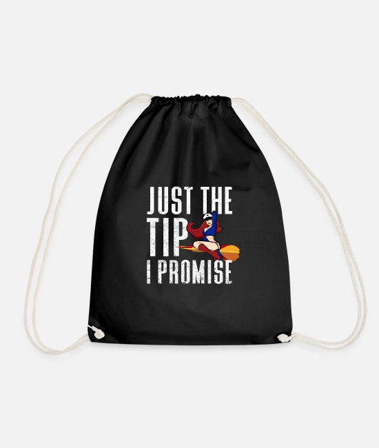 Arrow Bags & Backpacks - Funny Just The Tip I Promise Dart Girl Pinup - Drawstring Bag black