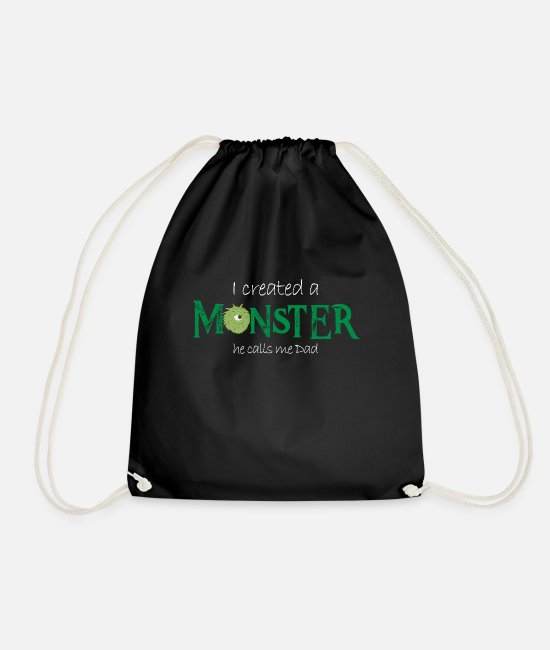 Father's Day Bags & Backpacks - I made a monster. He calls me dad - Drawstring Bag black