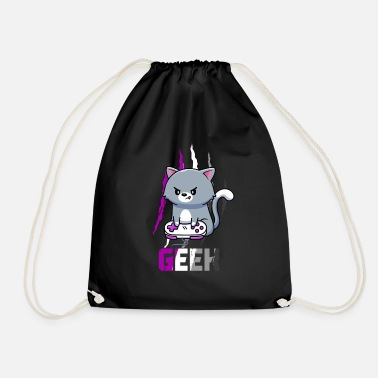 Gay Pride Asexual Pride LGBT Video Game Lovers Gift Cat - Drawstring Bag