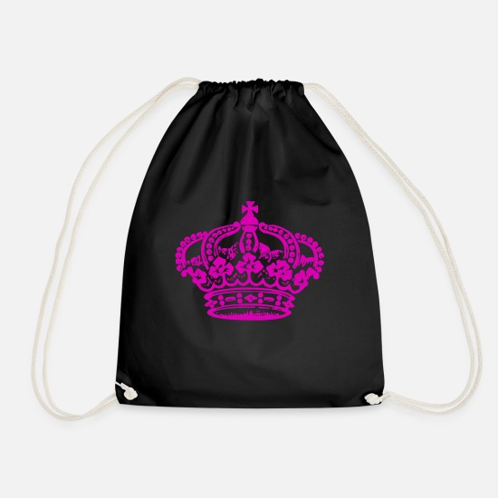 Coronation Bags & Backpacks - Crown King Queen Queen King Royal - Drawstring Bag black